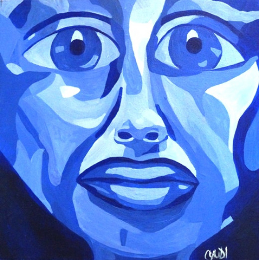 """This was a self-portrait I completed in 2006.  I have Frida Kahlo's influence to thank for it.  Its dimensions: 16"""" x 16"""" acrylic on canvas."""