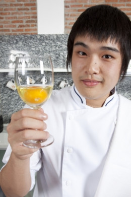 Yes, it's a raw egg in a glass. I am a trendy chef.