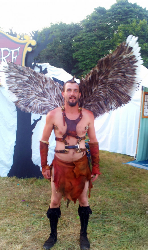 Winged party goer.