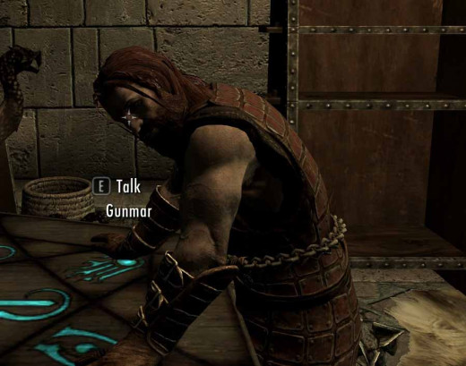 Skyrim Recruit Gunmar - the breeder of armored trolls at Fort Dawnguard