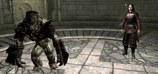 Skyrim the New Order - the hero (werewolf), the vampire Serana and their pet frost armored troll.