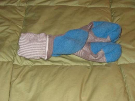 Socks enjoying a romantic moment holding hands on the coverlet.