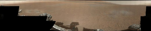 First color pan from Rover. This is thumbnail (low-res) view; hi-res is still stored in Mastcam's memory to be transmitted back later.