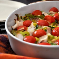 Baked Cod with Tomatoes, Fennel and Leeks over Jasmine Dill Rice