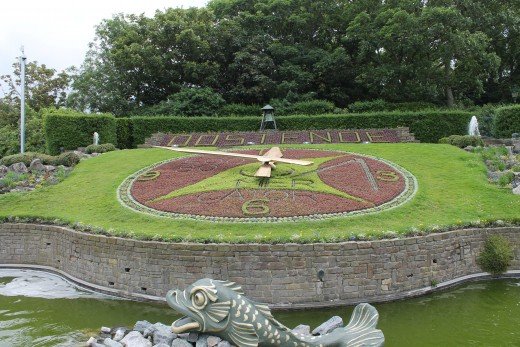 Ostend flower clock in Leopold`s park