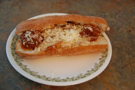 Homemade Italian meatballs on a sub sandwich