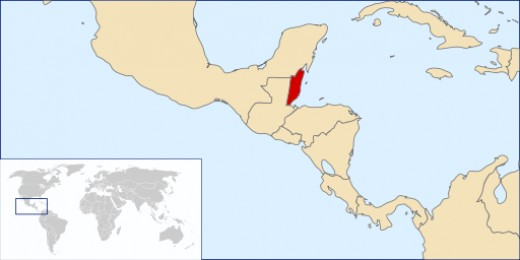 View of Belize (in red) and the rest of Central America.