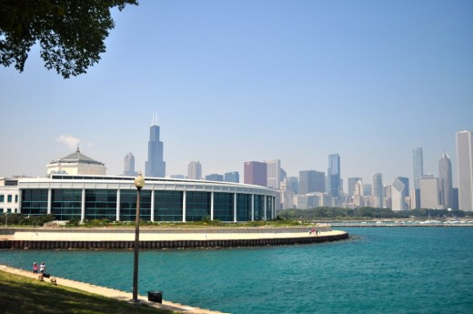 Shedd Aquarium with a view of the Chicago skyline