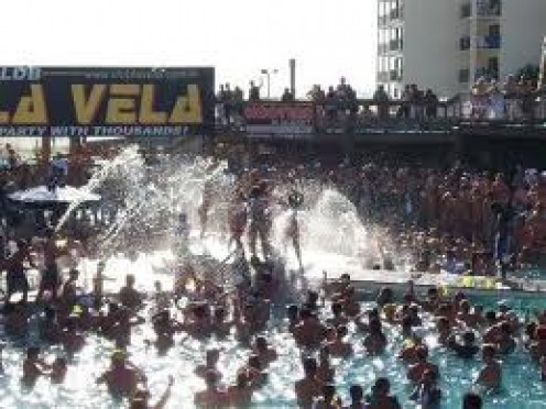 In the pool at Club La Vela in P.C. Beach, Florida. MTV used this pool during Spring Break in the 1990's.
