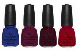 China Glaze Man Hunt, Puur-fect Plum, Call of the Wild, Adventure Red-y