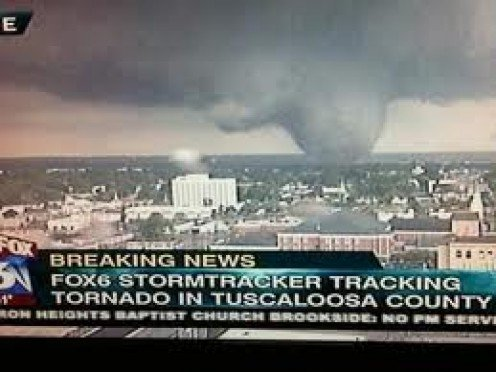 2011 Tornado in Tuscaloosa, Alabama. This tornado caused havoc for miles and it destroyed many homes, businesses and even an elementary school.