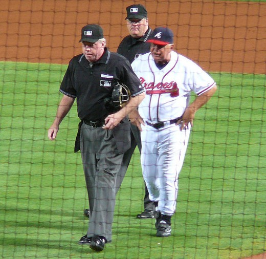 Long time Atlanta Braves manager Bobby Cox doing what he did best, arguing with an umpire