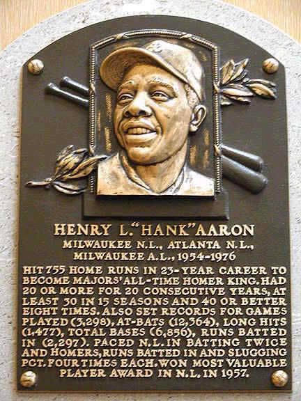 "Henry ""Hank"" Aaron's Hall of Fame plaque"