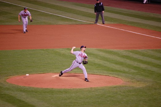 Pitcher John Smoltz delivering a pitch in 2007 as a member of the Atlanta Braves