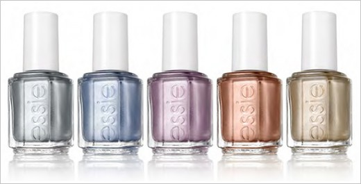 Essie No Place Like Chrome, Blue Rhapsody, Nothing Else Metals, Penny Talk, Good As Gold