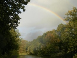 Rainbow over the canal, Burnley