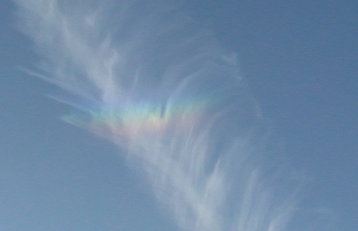 iridescent cloud in vapour trail