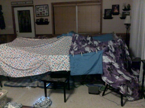 Blanket forts are easy to make!