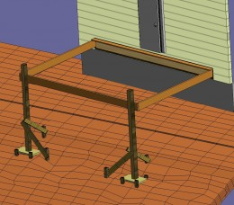 Fig 5. Temporary posts secured at the deck header