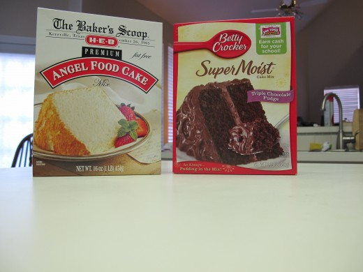 Choose two cake mixes, but make certain one is Angel Food.