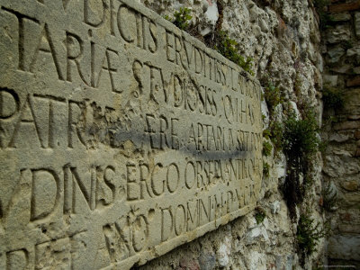 Ancient Latin Script Carving on a Stone Wall, Asolo, Italy, by Todd Gipstein