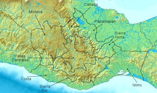 Different regions found within the state of Oaxaca.