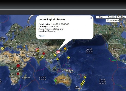 "Click an Icon to get more details. This Icon Reads ""Technological Disaster"" in Zhejiang, China"