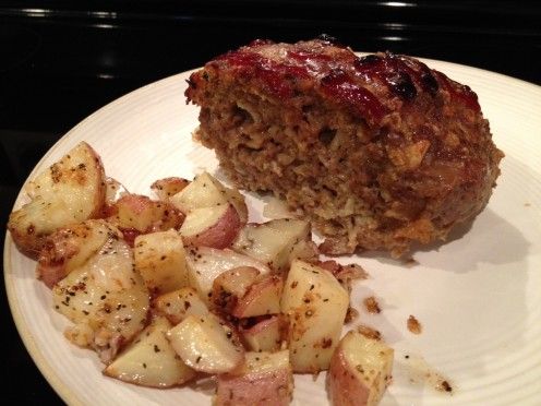 Brown Sugar Topped Meatloaf with Roasted Red Potatoes