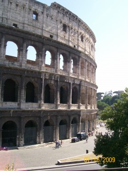 The outside of The Roman Coliseum
