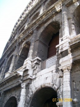 Looking up on The Roman Coliseum