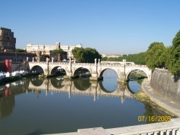One of the beautiful bridges that spans the Tiber River in Rome