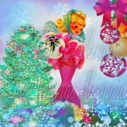 Christmas Mermaid Fabric Block Designed by The Vintage Mermaid