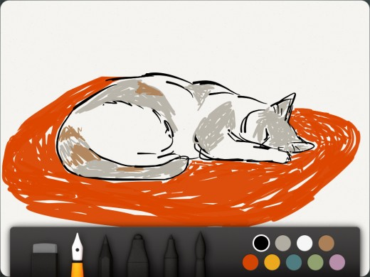 A real artist could probably work wonders with this app. The natural media flows nicely on the simulated paper. See brushes, colors below. (I'm finding Wacom's Bamboo Paper a little easier to use, but then, I got it first.)