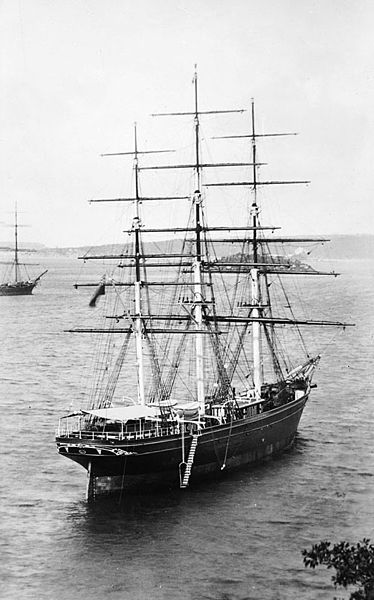 A clipper: the Cutty Sark in Sydney Bay Australia