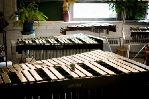 Vibraharps, an example of mallet percussion.