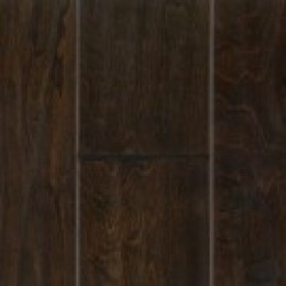 Dark finish hardwood flooring.