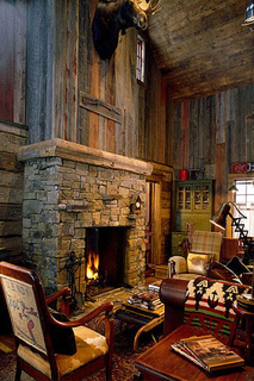 Reclaimed wood and stone are key elements in rustic interiors.