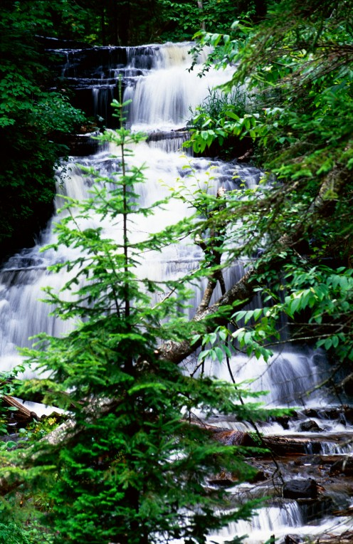 Wagner Falls, Wagner Scenic Park, Hiawatha National Forest, Upper Peninsula of Michigan.