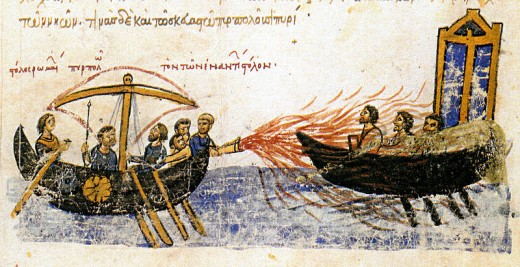 An ancient depiction of the use of Greek fire