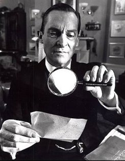 Jeremy Brett playing the role of the famous consulting detective, Sherlock Holmes.