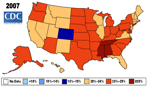 Obesity rates in 2007. Source: http://www.cdc.gov/nccdphp/dnpa/obesity/trend/maps/