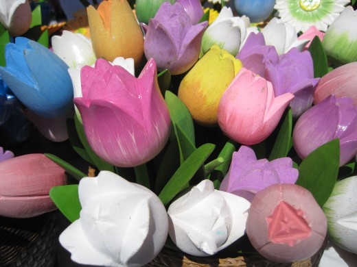 Colorful wooden tulips!