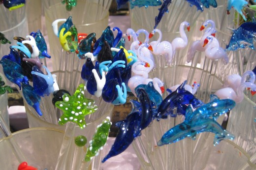 Delicate glass swizzle sticks.