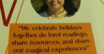 """We celebrate holidays together, do tarot readings, share resources, and share our magical experiences.""  A member of Sacred Flame is quoted in the yearbook talking about her club."