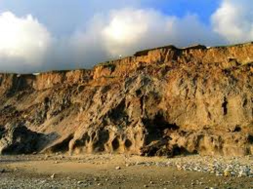 Clay cliffs on the coast near Hornsea - the sea 'chews' through these like we would munch biscuits or chocolate