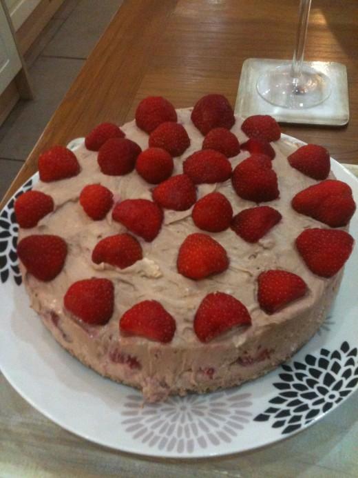 Chocolate Toblerone and Strawberry Cheesecake