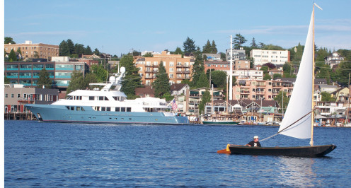 Yacht and Wooden Sailboat on Lake Union