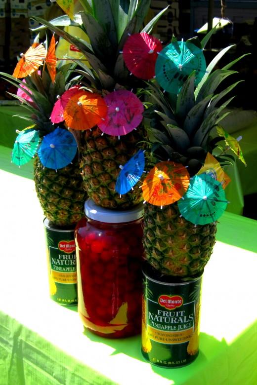 Pina Colada mixed drink table.