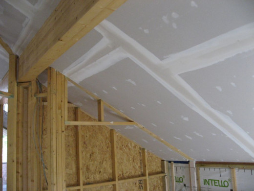 advice on how to plasterboard a ceiling and skim with. Black Bedroom Furniture Sets. Home Design Ideas