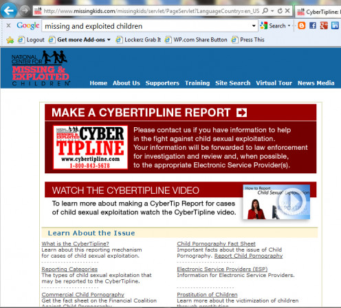 Cybertipline for report violations against children online and in person types of attacks.
